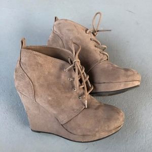 Taupe Suede Lace Up Wedge Bootie